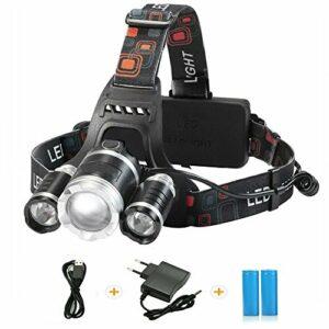 tkstar Lampe frontale 6000LM 18650 LED rechargeable lampe de poche lumière avec 4 modes de luminosité pour sport de plein air Équitation Camping Aventure Pêche Courir Escalade Randonnée Ju de L002