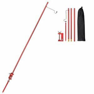 TOBWOLF Poteau de lampe de camping pliable et portable avec piquet en aluminium léger et pliable pour pique-nique, randonnée, pêche, barbecue – Rouge