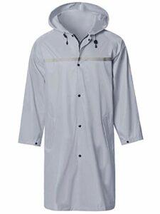 Veste Pluie Longue pour Hommes avec Bande Réfléchissante Étanche Réutilisable Randonnée Pêche Imperméable Manteau de Pluie Gris S