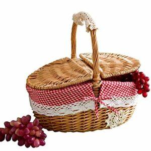 YeBetter Panier en osier fabriqué à la main pour le camping, les pique-niques, les courses, le rangement et la poignée en bois