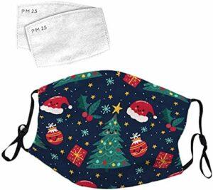 YeeATZ Masque facial pour enfants, protection UV de Noël contre la poussière, la pollution, pour la pêche, l'escalade avec boucles d'oreilles réglables