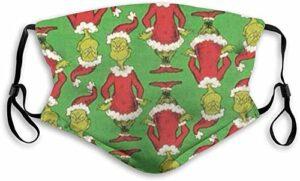 YeeATZ Masque facial respirant « How The Grumpy Grinch Stole » pour Noël, protection contre les UV, la poussière, la pollution, pour la pêche, l'escalade avec boucles d'oreilles réglables