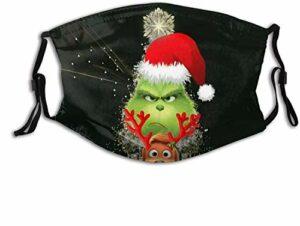 YeeATZ The Grinch – Masque facial respirant pour la pêche et l'escalade avec boucles d'oreilles réglables