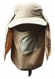 YJZQ Chapeau de Pêche 360 ° Casquette de Soleil avec Masque et protège-Cou Cap Visière Respirant à séchage Rapide Chapeau de Travail Moustiquaire Contre Insecte pour Camping Randonnée Cyclisme Jungle