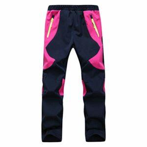 Yuanu Pantalon Softshell Garçons Imperméable Coupe-Vent Polaire Doublé Extérieur en Marchant Randonnée Escalade Poche Zippée Un Pantalon Ceinture Élastique Ajustable Rose Rouge XS