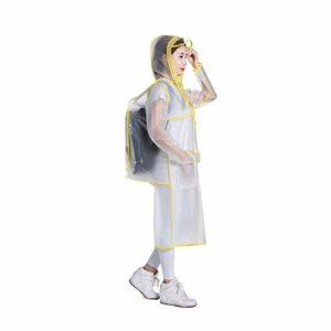 ZM& Mode Simple Imperméable Bordure Transparente Capuche Adulte en Plein Air Randonnée Longue Coupe-Vent Manteau Poncho (Color : Yellow, Size : XXXL)