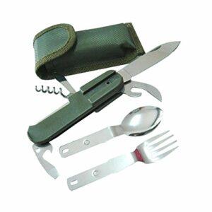 91Love Couvert Pliable Assembler Couteau Fourchette Cuillère pour Extérieur Camping Randonnée Pique-Nique Outil Multifonctio Couteau Pliant Kit