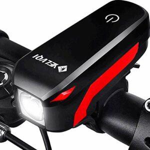 Aakrei Lumière de bicyclette LED Vélo de montagne phare feux arrière anti-éblouissement lampe de poche USB haut-parleur de charge Bell équitation équipement accessoires 4 modes de sécurité de la lumiè