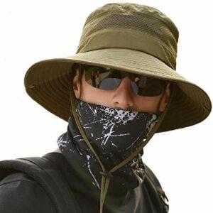 anaoo Chapeau Homme, Chapeau de Soleil, Chapeau Eté Pliable, Chapeaux Vert Visières Anti-UV, Séchage Rapide et Protection UV pour Camping, Pêche, Randonnée