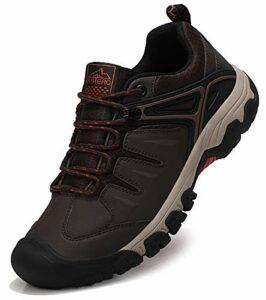 ASTERO Chaussure de Randonnée Homme Basse Boots Trekking Sneakers Lacet Outdoor Sport Marche Bottes Antidérapant Taille 41-46 (Marron FONCÉ, Numeric_42)