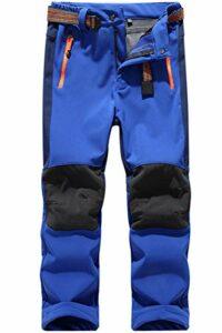 BenBoy Pantalon Randonnee pour Enfant Garçons Filles Outdoor Pantalon Ski Trekking Imperméable Softshell Thermique Pantalon de Montagne,KZ0018-Royalblue-XL
