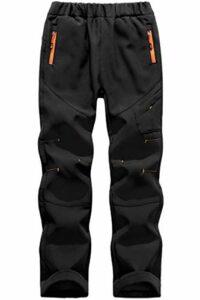 BenBoy Pantalon Randonnee pour Enfant Garçons Filles Outdoor Pantalon Ski Trekking Imperméable Softshell Thermique Pantalon de Montagne,KZ0028-Black-2XL
