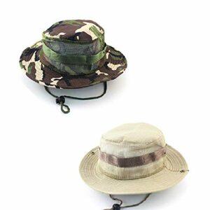 CAILI 2 Pack Chapeaux de Pêcheur en Plein Air, Chapeaux Décontractés dans la Jungle, Pêche en Plein Air pour Hommes et Femmes, Randonnée, Chapeaux de Camping (Kaki, Camouflage Vert)