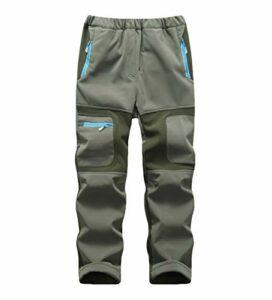 CAMLAKEE Pantalon Randonnée Garçon Fille – Pantalon Trekking Hiver Enfant – Pantalon Softshell Imperméable Doublé Polaire Armée Vert XXL