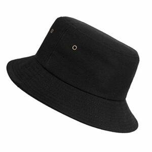 Chapeau de Seau ISIYINER Unisexe Coton Chapeau Pêche Chapeau De Soleil Aux Bords Arrondis respirant pour Randonnée L'extérieur La Pêche noir