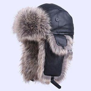 CSXM Pencil case Bomber Cap Bomber Hat Leather Winter Trapper Warm Aviator Earflaps Snow Ski Cap Russe Appliquer à Ski Moto Camping Randonnée Etc-Black_XL (60Cm)