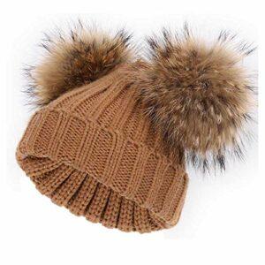 Enfant Bonnet De Laine, Bonnet Tricoté Unisexe Coton Doux Confortable Chaud, Détachable Pom Pom Extérieur Camping Bonnet, l'hiver (Color : Orange)