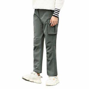 FLYGAGA pantalon extérieur pour enfants pantalon ski pantalon soft shell randonnée doublé polaire chaud avec ceinture imperméable coupe-vent séchage rapide automne hiver plus épaississement du velours