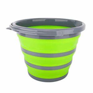 Housolution Seaux Pliables 10L, Contenant pour l'eau, Portable et Pratique pour Randonnée/Camping/Pêche/Voyage/Jardinage/Utilisation en Plein Air, Gris + Vert