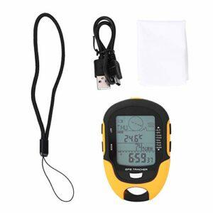 Jeankak Baromètre d'altimètre numérique, récepteur de Navigation GPS altimètre numérique, baromètre numérique à Double Emplacement par Satellite, Escalade étanche IPX4 pour la randonnée
