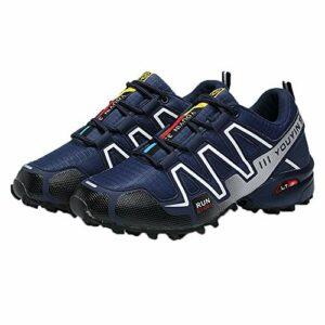 Karl Aiken Chaussures basses de trekking et de randonnée pour homme – Imperméables – Antidérapantes – Pour l'escalade, les voyages, le sport (37, bleu blanc)