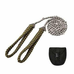 Kshzmoto 27 Pouces 11 Dents tronçonneuse de Poche avec poignée en Paracord scie à chaîne à Main équipement de Survie d'urgence en Plein air pour Camping randonnée Sac à Dos Coupe d'arbre en Bois