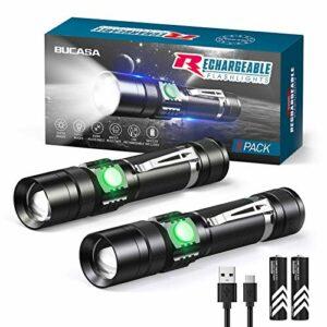 Lampe Torche LED Rechargeable, LETMY Lot de 2 Lampe de Poche USB 1600 Lumens, IP65 Étanche, 3 Modes d'éclairage Zoomable, Lampe Torche pour Camping, Trekking, Urgence (18650 Batterie Incluse)