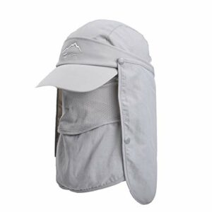 Lazzon Casquette de Soleil Homme Femme Été Anti-UV Chapeau d'ombre Pêche Equitation Camping Chasse à Large Bord Bouchon de séchage Rapide Casquette d'escalade (Gris Clair)