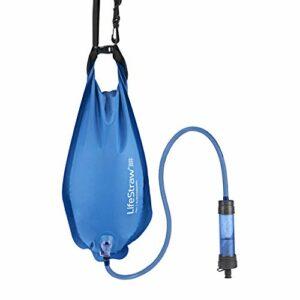 LifeStraw Flex avec sac Gravity Bag – Filtre à eau multifonction avec 2 niveaux de filtration pour la randonnée, le camping, les voyages et la prévention d'urgence.