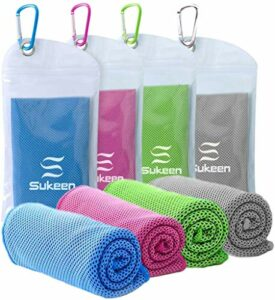 Lot de 4 serviettes de fitness rafraîchissantes pour le sport, le golf, le yoga, la randonnée, la glace, le froid, le cou, le bandana rafraîchissant, le sport, noir (101,6 x 30,5 cm)