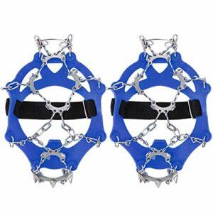 Microspikes Chaîne de crampons unisexe en acier inoxydable 13 dents Fixation sport antidérapante pour chaussures de randonnée randonnée escalade Taille unique 36-38 – Bleu – bleu, Taille unique