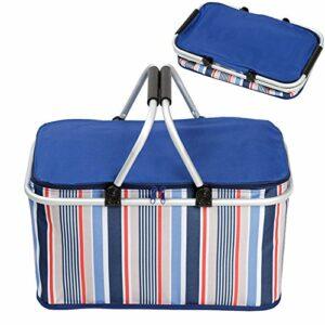 Panier pique-nique isotherme pliable 32 pour courses, camping, randonnée bleu