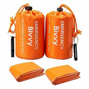 Remebe 2 Sacs + 2 sifflets de Survie Life Bivy Sac de Couchage d'urgence Bivvy Thermique Utilisation comme Sac de Bivouac d'urgence, Couverture d'urgence pour la randonnée en Plein air Camping