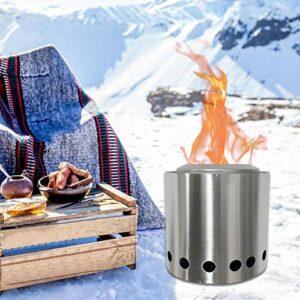 Seatechlogy Réchaud de Camping Pliable, Poêle à Bois Camping Compact Durable, Rechaud Bois Bivouac en Acier Inoxydable pour Le Camping, La Randonnée, Le Pique-Nique, La Fête, Le Barbecue