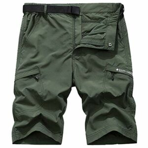 Shorts de randonnée à séchage Rapide pour Hommes Sports de Plein air Trekking Respirant Camping Pêche Courir Court Army Green Asian Size 4XL