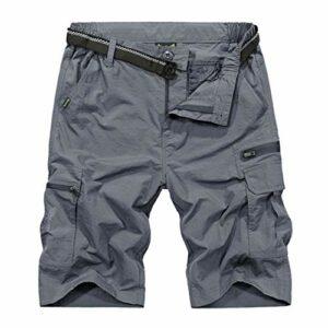 Shorts de randonnée en Plein air Hommes Short Tactique à séchage Rapide/étanche Shorts de Sport Pêche/Trekking Gray XL