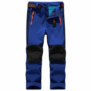 Sidiou Group Sport Pantalon Imperméable Pantalon de Randonnée Pantalon Softshell Enfant Pantalon Trekking Garçon Pantalon d'escalade Fille Pantalon Fleece (S 23″(Taille: 58cm-72cm), Bleu foncé)