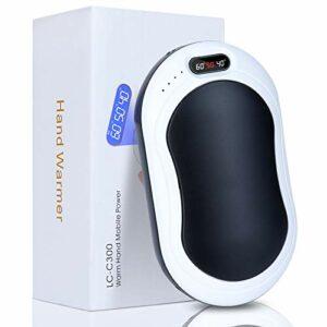 Sinwind Chauffe-Mains Rechargeable, 4 en 1 USB Chauffe-Mains Électrique 10000mAH Portable Batterie Externe avec Fonction D'éclairage LED pour Le Ski, l'escalade, La Randonnée