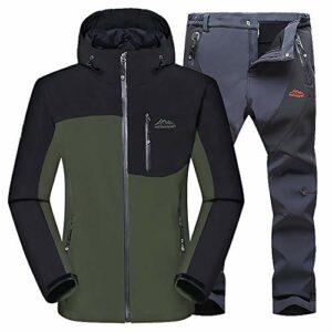 Sugöns Hommes Veste Montagne Pantalon Imperméable Veste De Ski Manteau Coupe-Vent Hiver Chaud Hiver Neige Pluie pour Camping Hikng Voyage Escalade Sport (Green Coat Gray Pants,2XL)