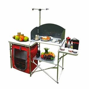 Table de Gril Pliante Multifonctionnelle de Cuisine Mobile En Alliage D'aluminium Avec Panneau de Pare-brise Et Support De Lumière pour Barbecue, Camping, Pique-niques, Fête, Arrière-cours Et Talonn