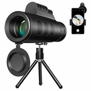 Télescopes monoculaires cadeaux, télescope 40X60 HD jumelles d'objectif de téléphone portable étanches avec support de téléphone trépied pour l'escalade d'observation d'oiseaux concert de football jeu