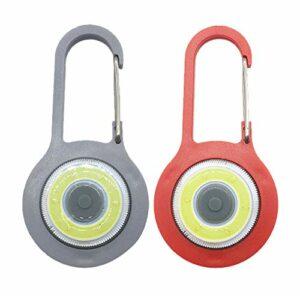 Vimmor Petite lampe de poche LED avec mousqueton – Très lumineuse – Lampe d'urgence – 3 modes – Strobe la plus puissante – Avec mousqueton – Pour sac à dos de montagne (rouge et vert)