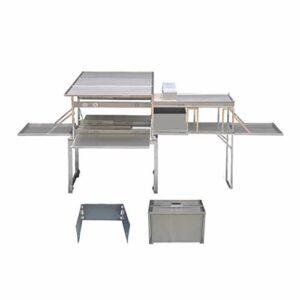 XDD Camping Kitchen 304 en Acier Inoxydable Supérieur Et Inférieur 3 Zones, Table de Gril Pliante pour Pique-Nique, Talonnage, Camping Et Arrière-Cours 1600x930x685MM