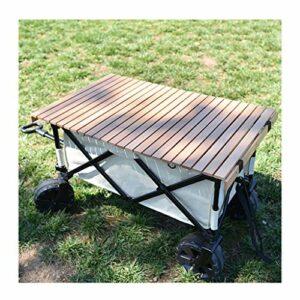 XDD Table de Camping, Chariot de Camping de Jardin Pliant en Plein Air Roues Changeantes De Direction à 360 ° Poignée Rétractable Multi-Angle Charge Maximale 100 Kg avec Sac à Main