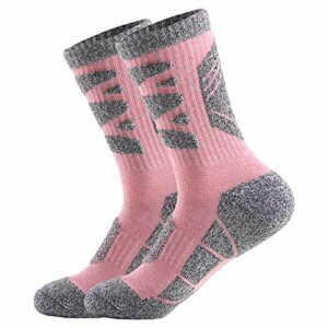 2 Paires Femme Chaussettes Multi-Performance Wicking Anti-Ampoules pour Les Sports de Plein air randonnée Trekking Camping Backpacking Running Fitness (Rose, L:39-40)