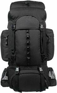 Amazon Basics Sac à dos de randonnée à armature intérieure avec housse de pluie, 55 L, Noir