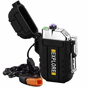 Briquet Électrique USB Rechargeable Coupe-Vent Plasma Briquet Briquet à Arc sans Flamme avec Sifflet d'urgence pour Randonnée, Plein Air, Aventure, Survie Tactique, Équipement EDC (Noir)