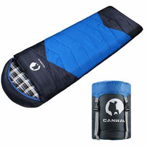 CANWAY Sac de Couchage Portable pour Camping, 2-3 Saisons en Matériau Imperméable 1.9kg Flanelle Bleu