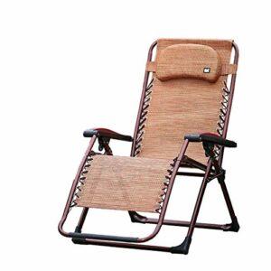 Chenbz Chaise pliante Chaises de camping for les gens lourds Haut Retour extérieur Voyage Pêche Siège Portable Reclining Chaise, brun, 200 kg