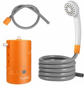 Douche extérieure portable – Douche de camping rechargeable USB – Pompe de douche alimentée par batterie 4400 mAh pour randonnée, sac à dos, voyage, plage, animaux domestiques, IPX7 étanche